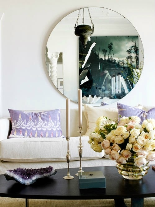 little blue deer: Coffee Tables, Living Rooms, Big Mirror, Round Mirror, Circles Mirror, Purple Pillows, Interiors Design, Coff Tables, Flower