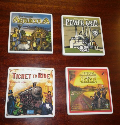 Board Game coasters! Awesome idea!                                                                                                                                                                                 More