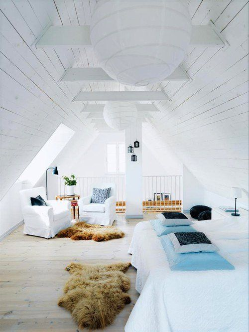 Attic beauty --  I just hope those fur rugs are not real.