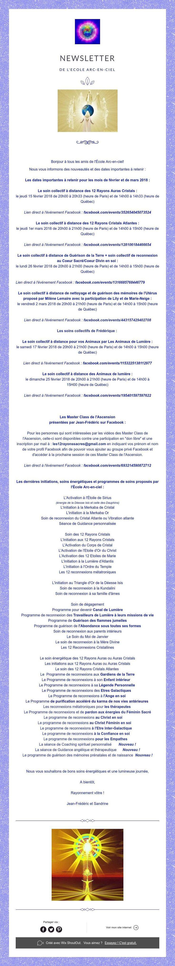 Newsletter de L'Ecole Arc-en-ciel