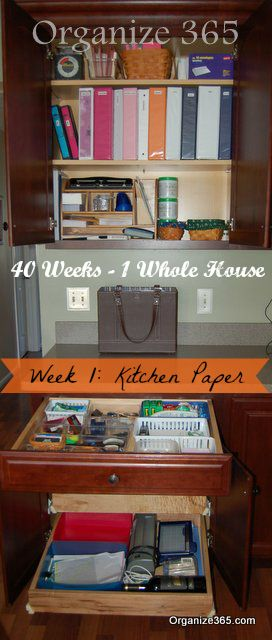 Is your kitchen office functioning at FULL capacity? Week 1 of my whole house organization challenge tackles kitchen paper. Come tackle your kitchen paper. | Organize 365