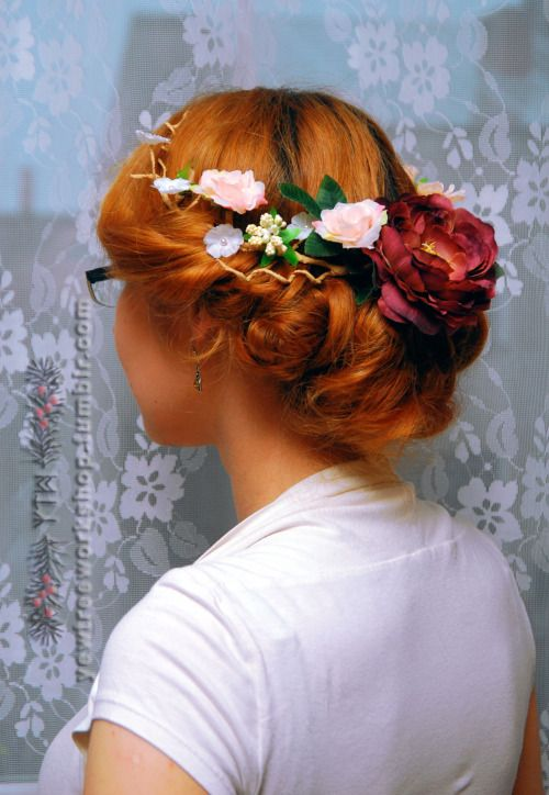 Half-crown, wedding circlet, flowery hair accessory. Designed especially for updos