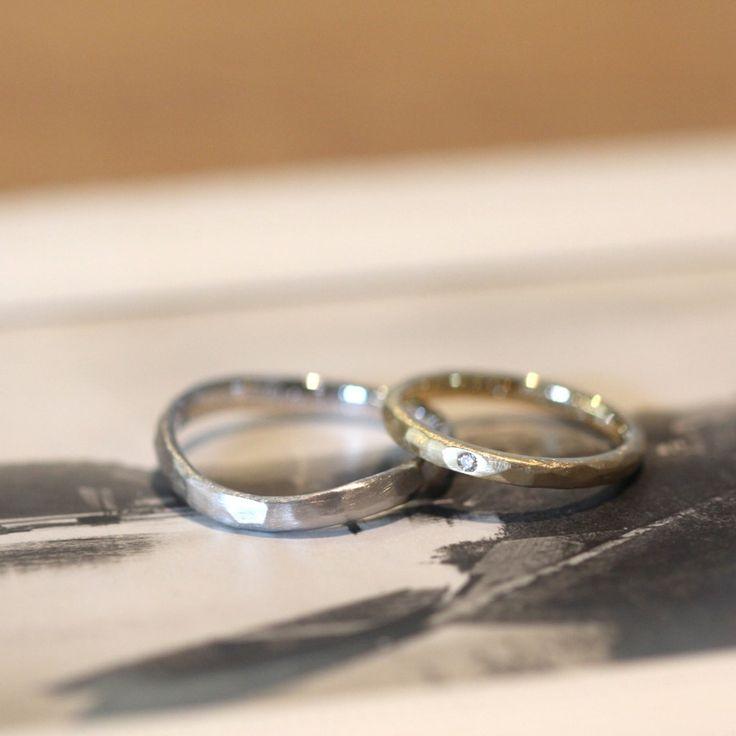 ゴールドとプラチナでおつくりした結婚指輪:槌目春(オーダーメイド/手作り) #marriage #Gold #diamond #wedding #ウエディング #マリッジリング