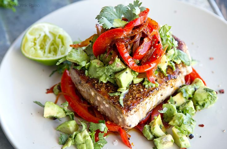 Mexican tuna steak sweet red peppers avocado salsa for Recipes with tuna fish