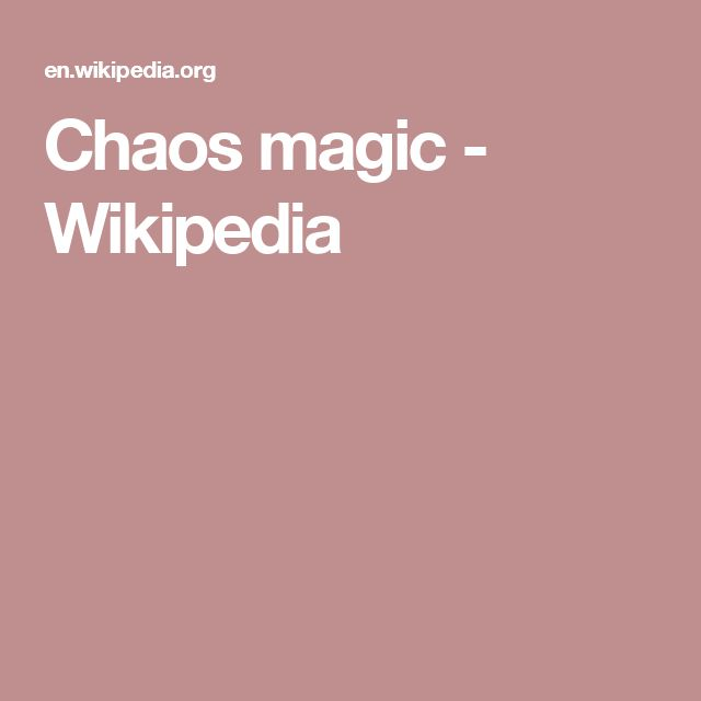 Chaos magic - Wikipedia