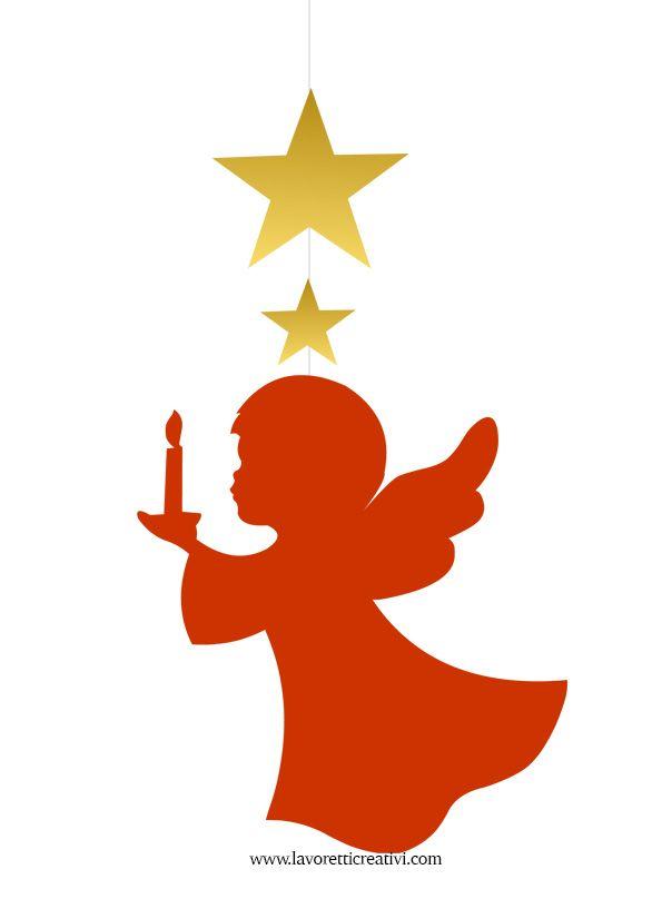 Pendente con angelo e stelle da attaccare sulle finestre o sulle pareti della classe nel periodo natalizio. ADDOBBI NATALE Angelo con candela Materiale: ca