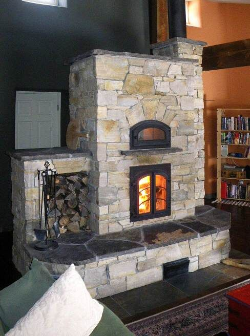 Sandstone kachel fen the masonry heater association for Rocket stove inside fireplace