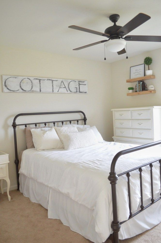 Cottage Style Guest Room In Benjamin Moore Ballet White