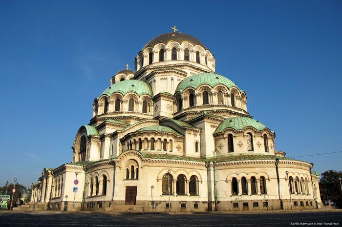 The magnificent domes of Aleksander Nevski Cathedral in Sofia, Bulgaria.