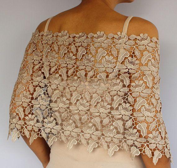 Ecru Beige Lace Capelet: Bridal Top Wear Shrug. Handmade.
