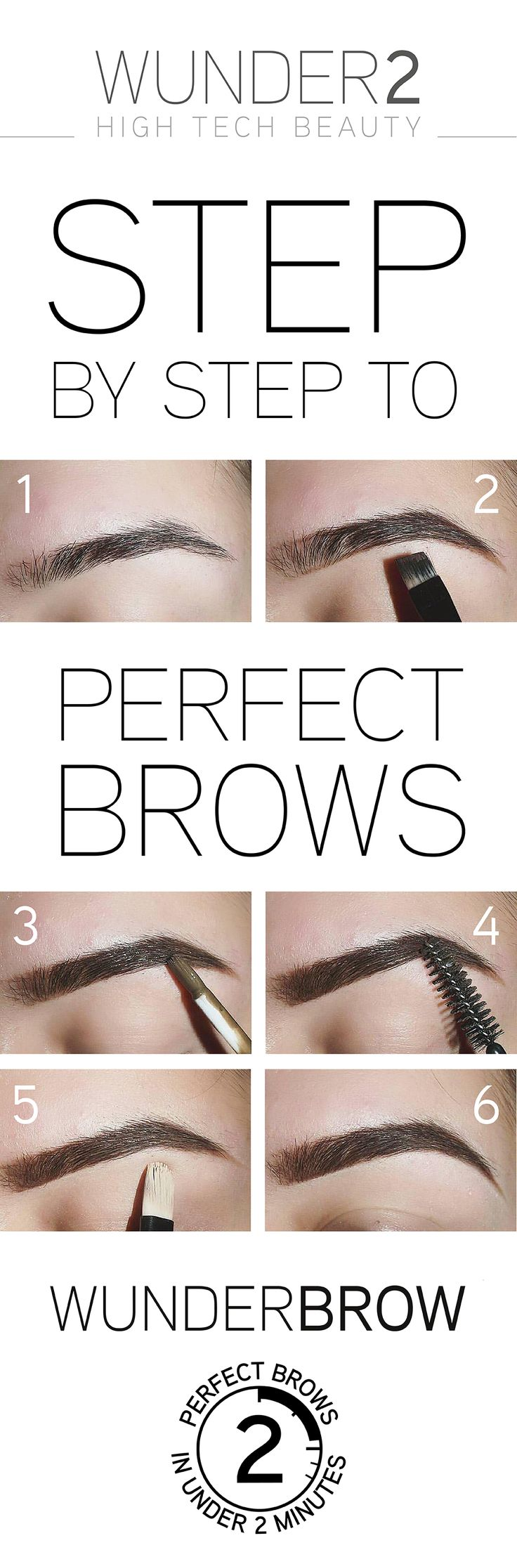 Perfect eyebrows in under 2 minutes that will last up to 3 days without smudging or transferring! Use this pictorial as a guide to help you get the eyebrows you love! Why not try WunderBrow today for only $22 + FREE shipping & a 30 day risk-free money back guarantee. Simply click on the 'visit' button above. The order form takes less than 2 minutes to complete. Once done you'll receive an order confirmation email. You'll never want to try another eyebrow product once you've tried WunderBrow!