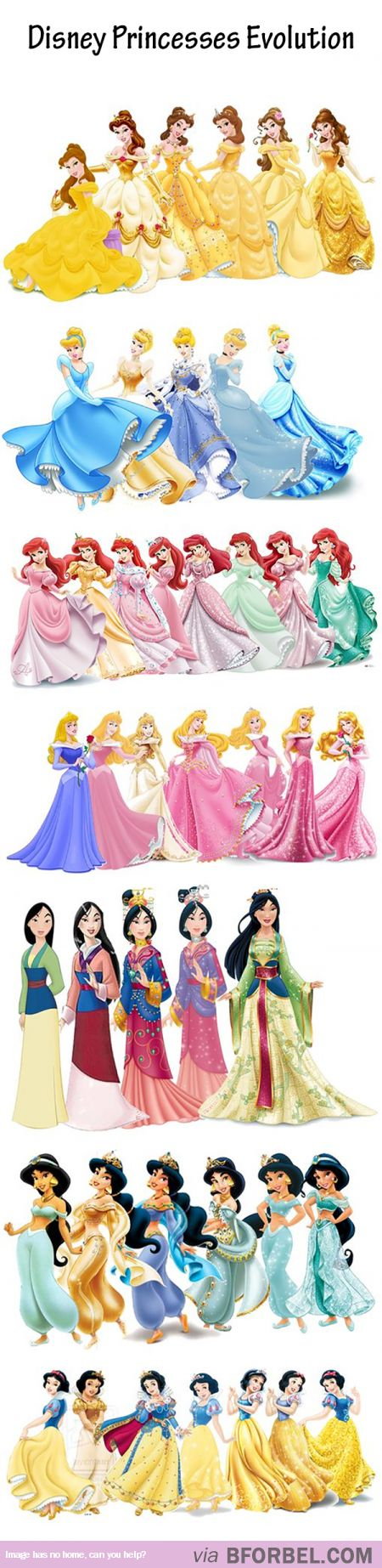Evolution Of 7 Disney Princesses… So Gorgeous!>>>> I remember when they all went gold, I wonder why...