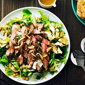33 main-dish salads | Garlicky Steak Salad with Chickpeas and Artichokes | Sunset.com: Main Dish Salads, Artichokes, Garlicky Steaks, Chickpeas Salad, Sunsets Magazines, Steaks Salad, Summer Salad, Maine Dishes Salad, Steak Salad