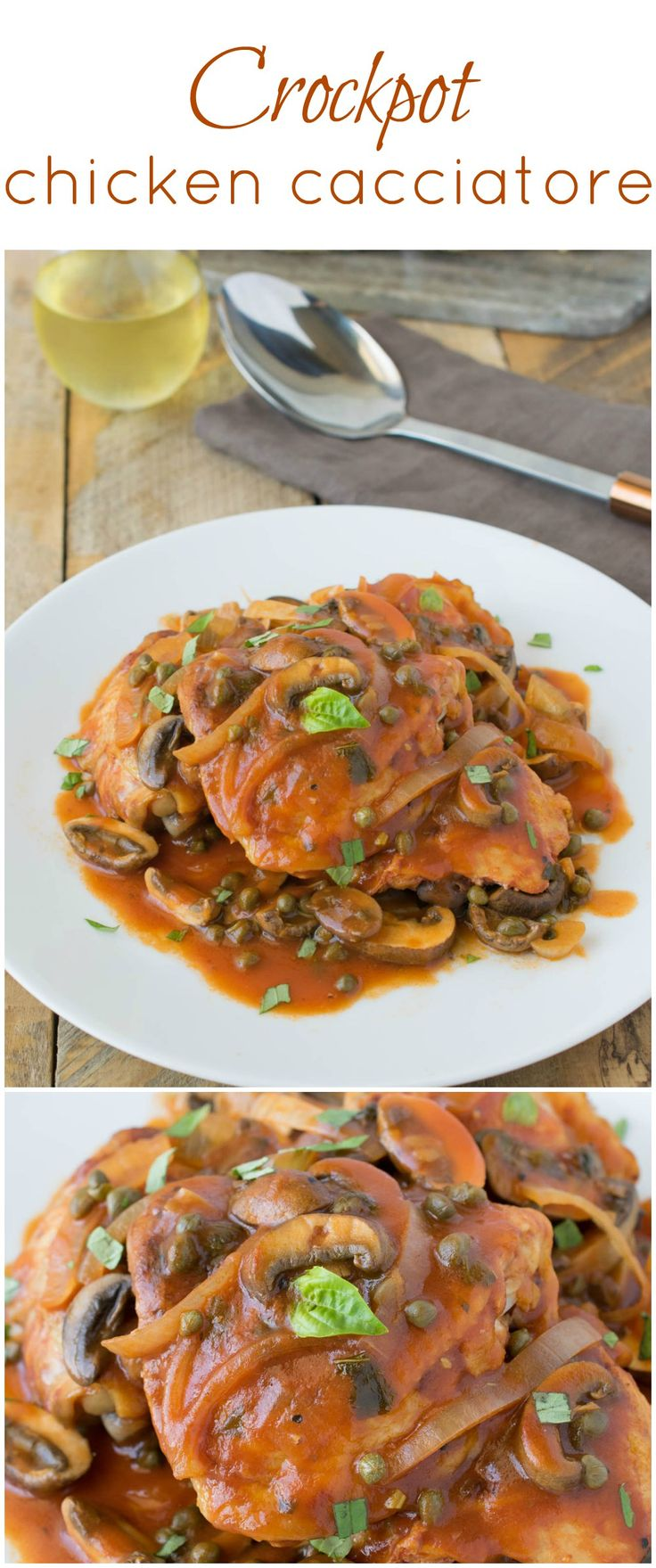 Crockpot chicken cacciatore is the perfect one pot meal that cooks itself while…