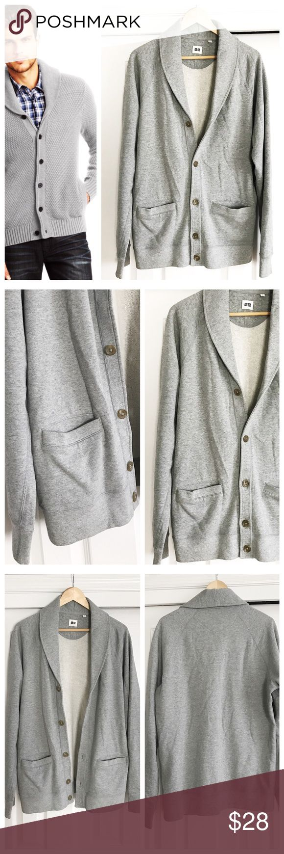 🎉HP🎉 MENS Uniqlo Grey Cardigan Collar Men's grey cardigan with collar and two pockets on front. Thin sweatshirt like material. Uniqlo size large 100% cotton. First photo on left not actual item just showing for styling!  🎉host pick🎉men's style party🎉4.7.2017🎉 Uniqlo Shirts