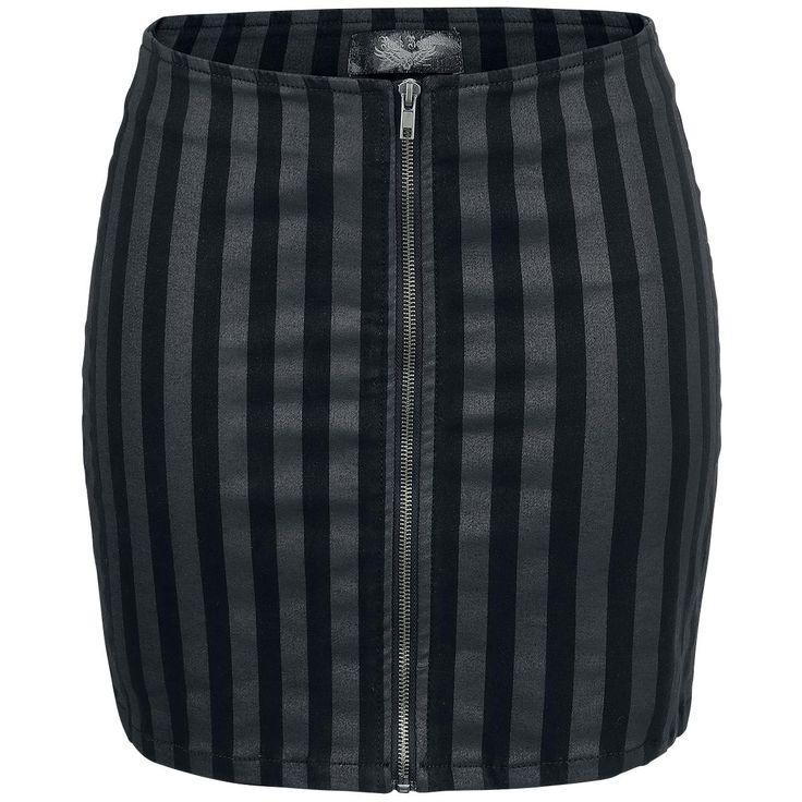 Striped Zip Skirt - Short skirt by Rock Rebel by EMP