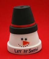 Clay pot snowman.CRAFT for DECEMBER W.RESIDENTS