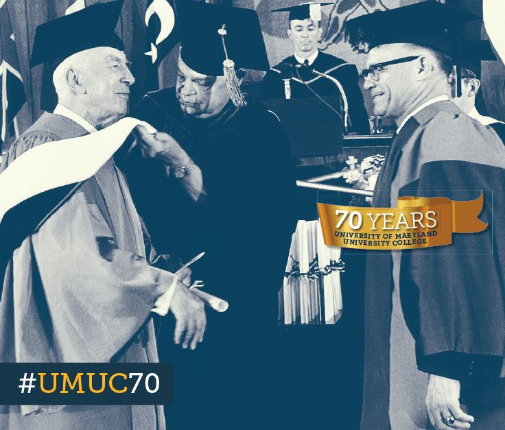 British historian Arnold J. Toynbee received an honorary degree at the European Division commencement ceremony in Heidelberg, 1964. #ThrowbackThursday #umuc70