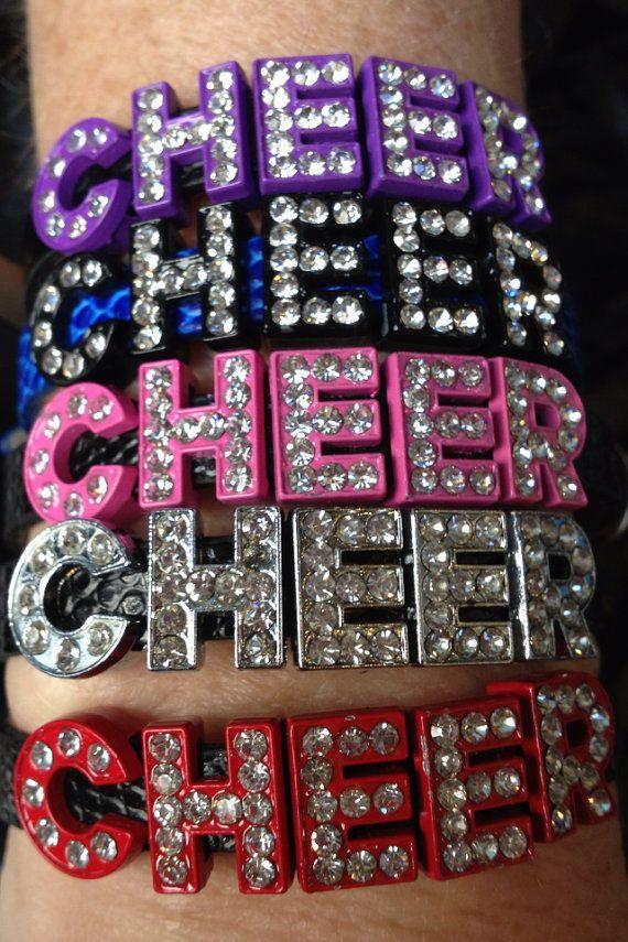 Cheer Rhinestone Letter Bracelets