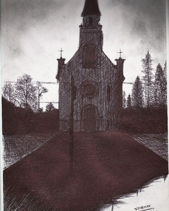 ABANDONED CHURCH pen work (black ball point pen) sky made with pencil