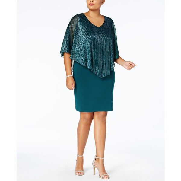 Connected Plus Size Metallic Cape Dress ($89) ❤ liked on Polyvore featuring plus size women's fashion, plus size clothing, plus size dresses, teal, connected dresses, shimmer dress, white cocktail dress and plus size crinkle dress