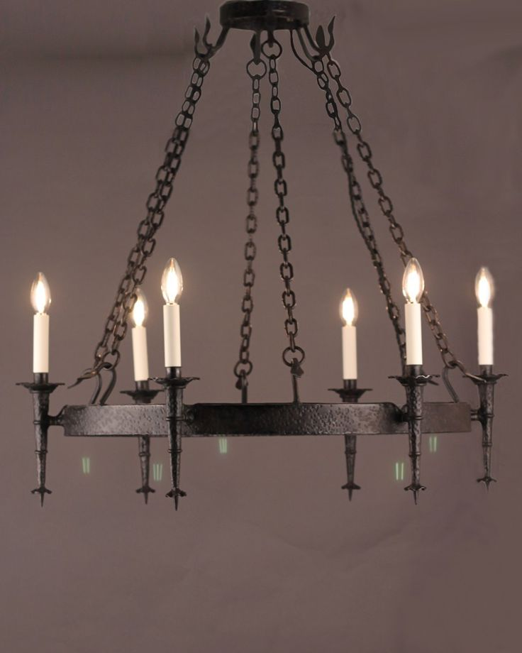 £1,850, Gothic Lighting, 6 Light Iron Ring with a Burnished Iron Finish