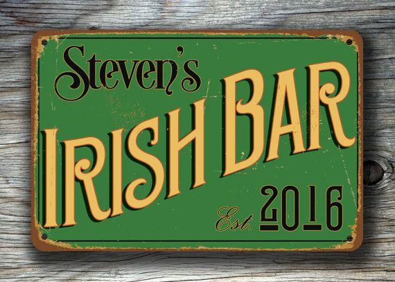 Customizable IRISH BAR SIGN Pub Sign-Vintage  by ClassicMetalSigns
