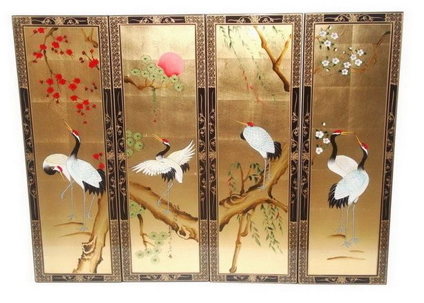 "Gold leaf Sakura cranebirds panels   48""x36""      This four-panel wall panels are made from solid Elm wood . with elaborate borders and ornamentation, the screen features six graceful cranes on the sakura trees and under the red rising sun . cranes are among the prime symbols of longevity  and good fortune In Japan and China. This Charming panels is perfect to hang on the wall in any living space ."