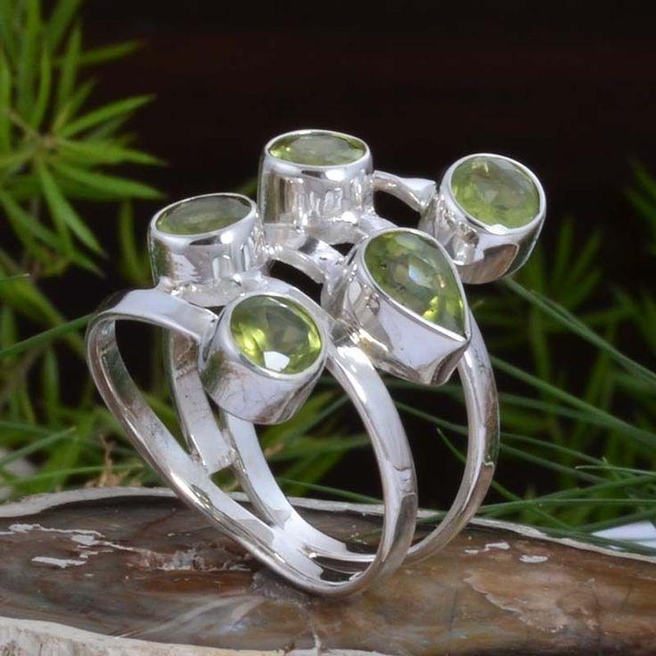 DESIGNER 925 STERLING SILVER Peridot Cut FANCY RING 5.47g DJR10907 SZ-7 #Handmade #Ring