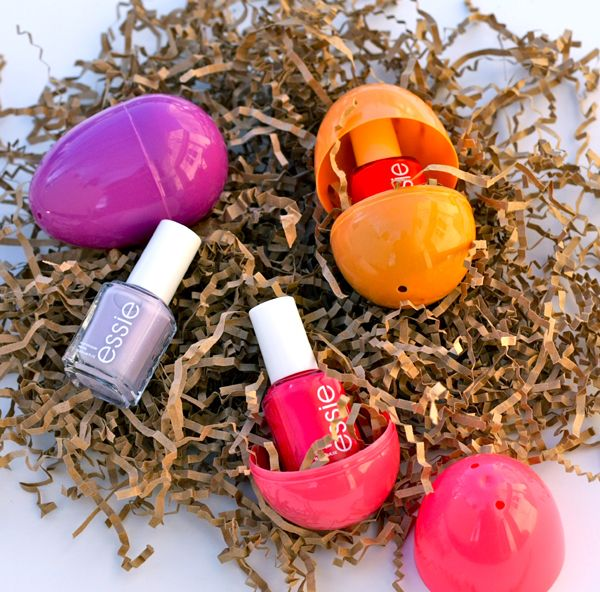 Plastic Easter eggs with matching nail polish inside.