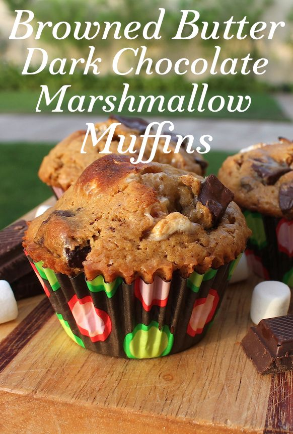 Food Lust People Love: Browned butter is the star ingredient in this sweet browned butter dark chocolate marshmallow muffin but the brown sugar, dark chocolate and marshmallows add just the right amount of bitter and sweet.