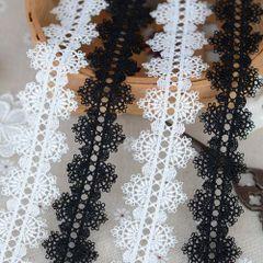 2.8元1码花边辅料黑白两色双边项链服装水溶蕾丝花边宽3.5厘米