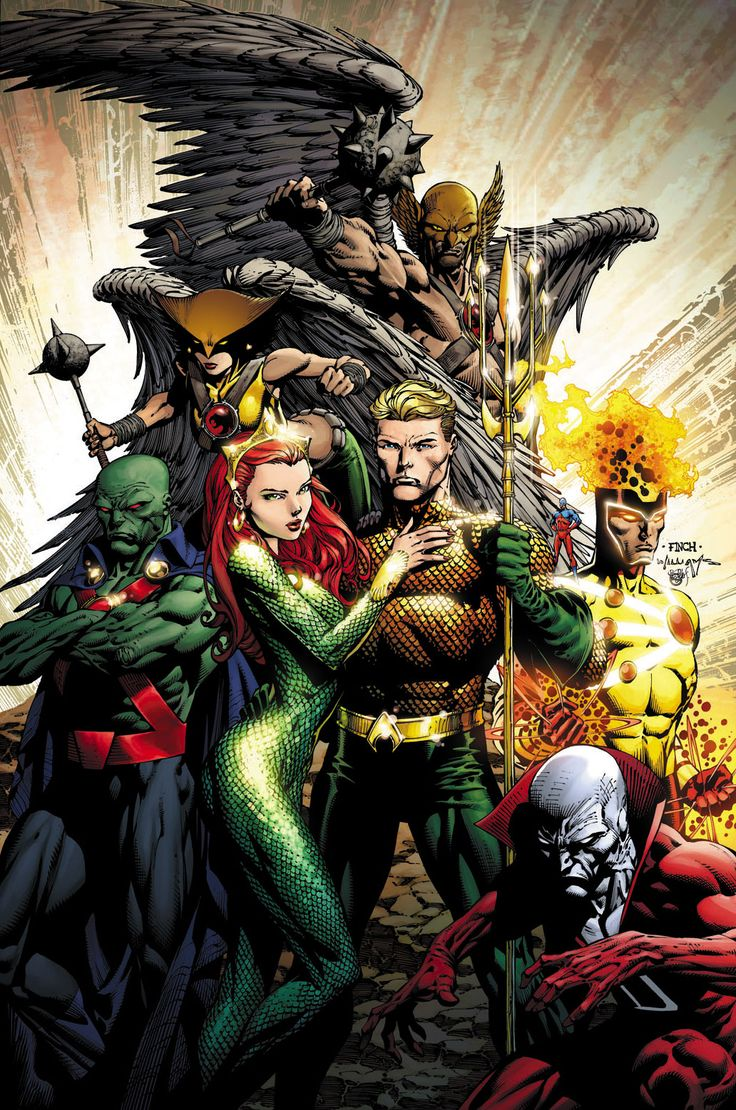 Aqua-Man, Martian Manhunter, Hawk-Woman, Hawk-Man,  Dead-Mean