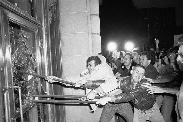 Demonstrators smash the front doors of San Francisco City Hall on May 22, 1979. About 5,000 people marched from the city's LGBT community to City Hall, protesting the voluntary manslaughter conviction of Supervisor Dan White in the fatal shootings of Mayor George Moscone and Supervisor Harvey Milk.