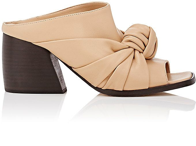 Helmut Lang Women's Knotted Leather Mules-BEIGE, NUDE
