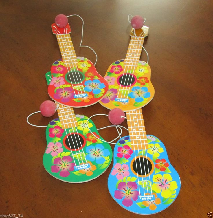 12 LUAU Tiki Hawaiian Party Favors Wooden Shaped UKULELE PADDLEBALL GAME Games