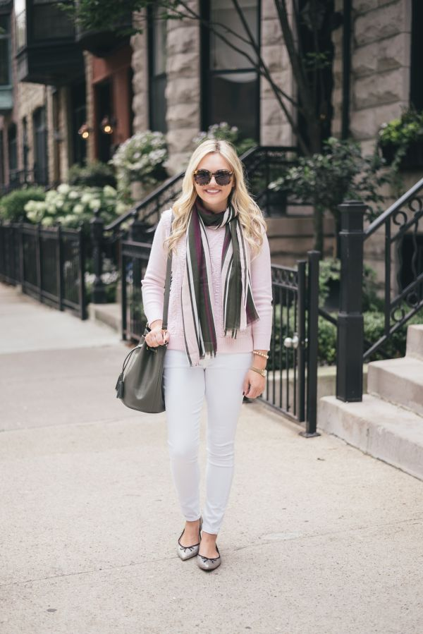 Fall Outfit: White Jeans, Blush Pink Sweater, Olive Green Accessories