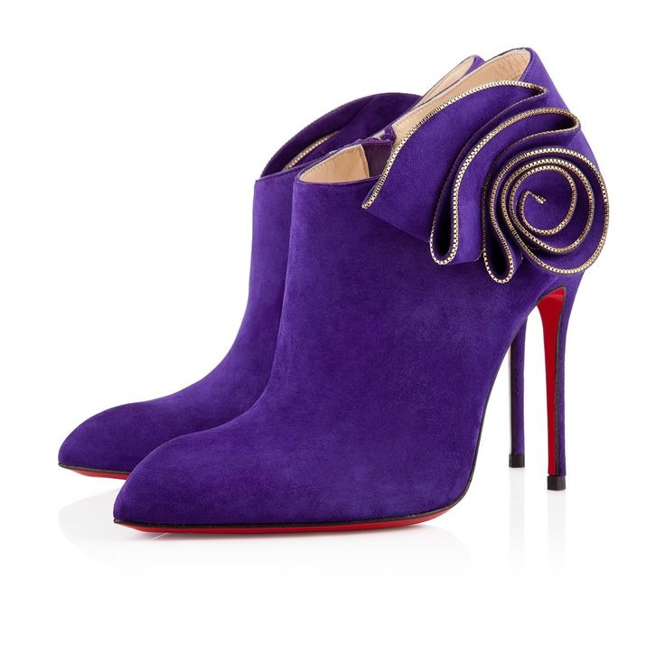 Chaussure Louboutin Pas Cher MRS BABA Veau Velours 100mm VioletOr #chaussure