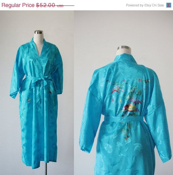 on SALE. Light blue rayon long kimono robe, deadstock vintage embroidered Asian duster
