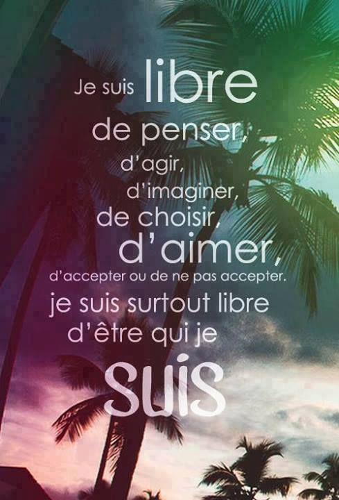 Je suis libre, mantra du jour :-) Bon et merveilleux jeudi !