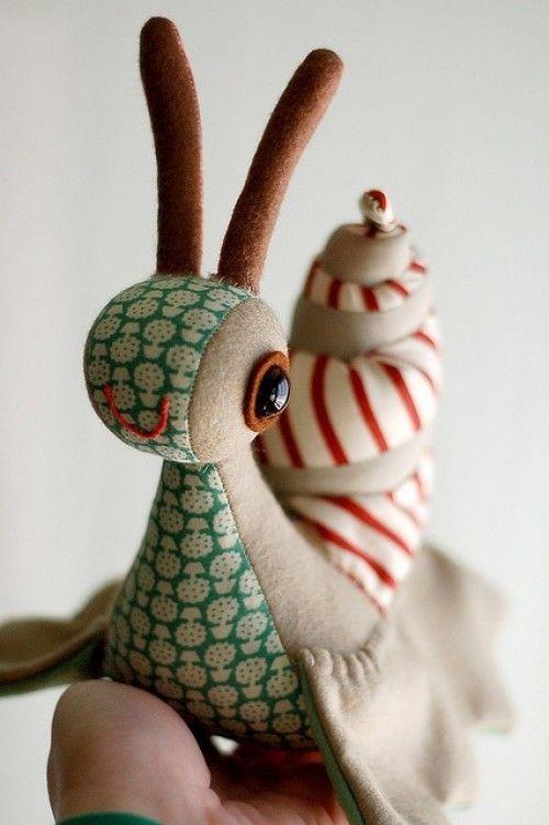 snail plush - woven fabric and felt