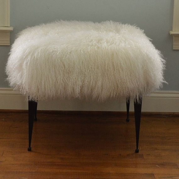 Real Natural Mongolian Lamb Fur Bench Tibet Lamb Stool New Sheepskin Footstool Fur Ottoman foot stool £270