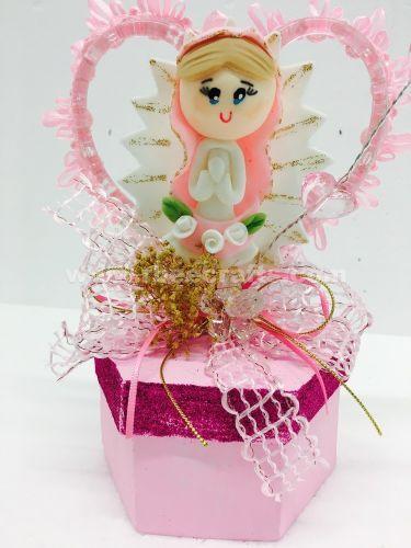 Recuerdos rosa con virgen de migajon y cajita de mache para presentación de 3 años de RBee Crafts.