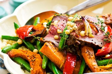 Seared beef and Israeli couscous salad