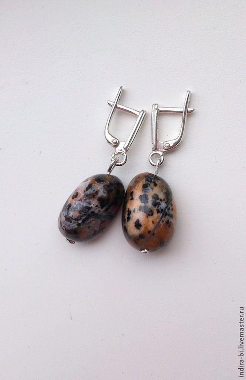 Купить Леопард Серьги с натуральным опалом - натуральные камни, гипоаллергенные швензы, подарок девушке, коричневый