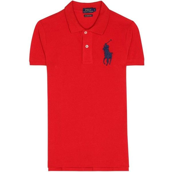 Polo Ralph Lauren Cotton Polo Shirt ($135) ❤ liked on Polyvore featuring tops, red, polo ralph lauren, red polo shirt, red top and polo shirts