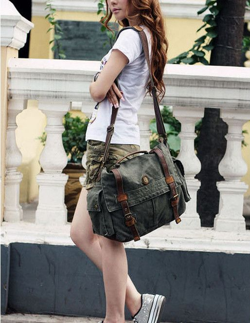 """Washed 17"""" Canvas & Leather Laptop Bag in Army Green with Brown Leather Straps"""