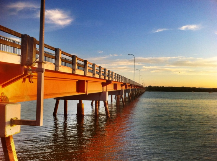 Bridge across Pumicestone Passage to Bribie Island. Spent a lot of time here. Lovely quiet place.