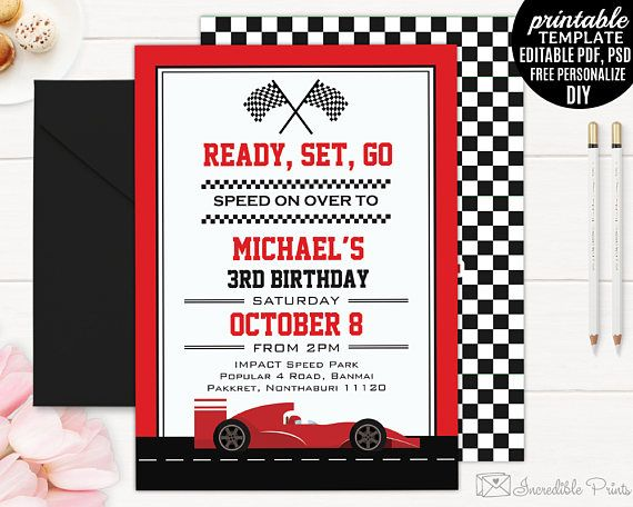 Cars Invitation Card Template Free: Race Car Boy Birthday Invitation Template. Boy Birthday