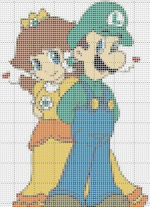 Luigi Amp Daisy Cross Stitch
